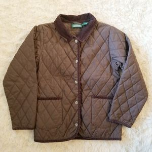 L.L. Bean quilted barn coat brown M 10-12 girls